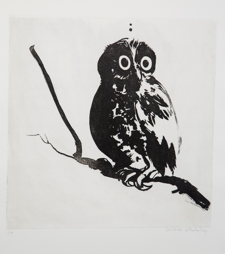 Startled Owl 1984 painting